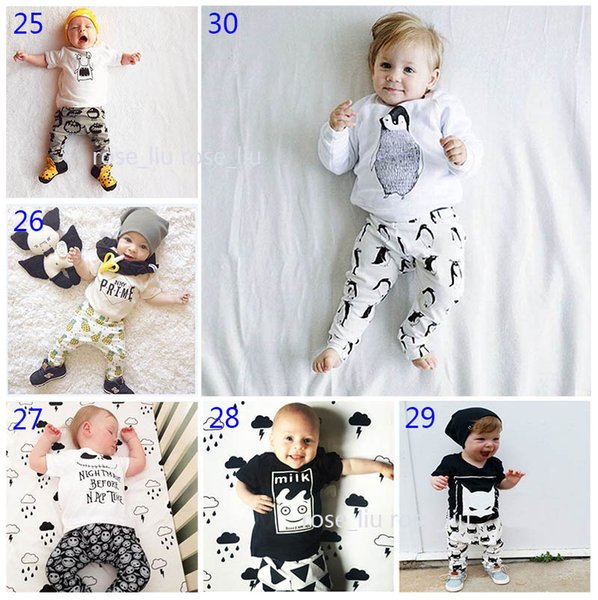 30 Style Baby INS fox stripe letter Suits DHL Kids Toddler Infant Casual Short long sleeve T-shirt +trousers 2 pcs sets pajamas B