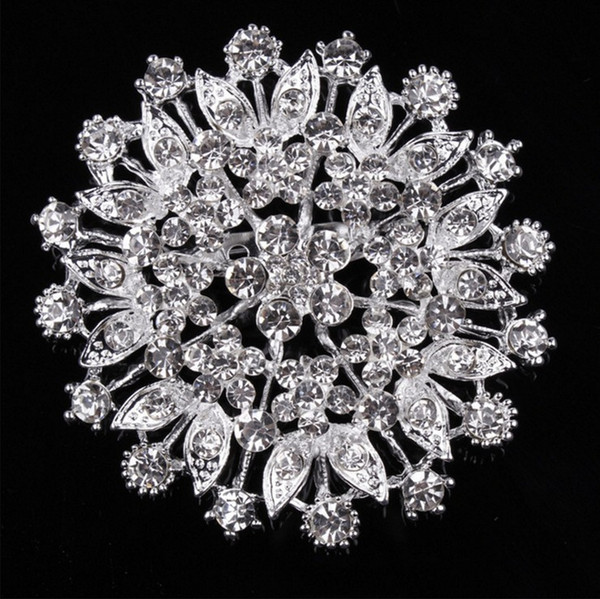 Crystal large flower brooch inlaid women's clothing jewelry corsage fashion wild Dabie pin scarf buckle accessories