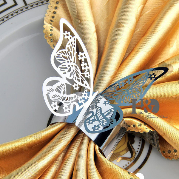 Wholesale- New Arrival 50pcs/lot Silver Butterfly Design Table Paper Napkin Rings For Wedding Party Decoration Porta Guardanapo
