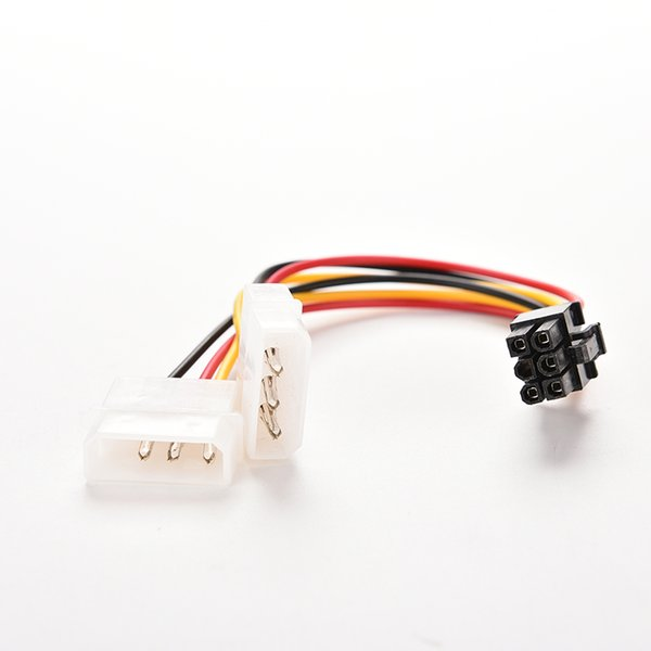 Wholesale- 2 IDE Dual 4pin Molex IDE Male to 6 Pin Female PCI-E Y Molex IDE Power Cable Adapter Connector for video cards