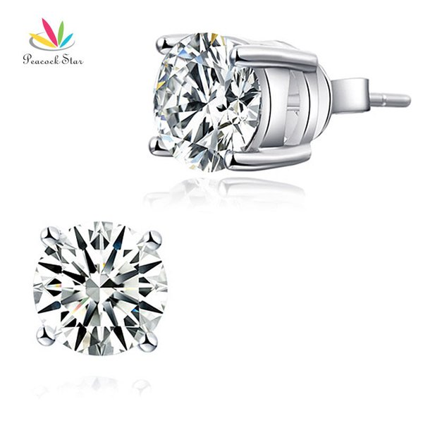 Peacock Star 2 Carat Clear Created Diamond Solid 925 Sterling Silver Stud Earrings Jewelry CFE8114