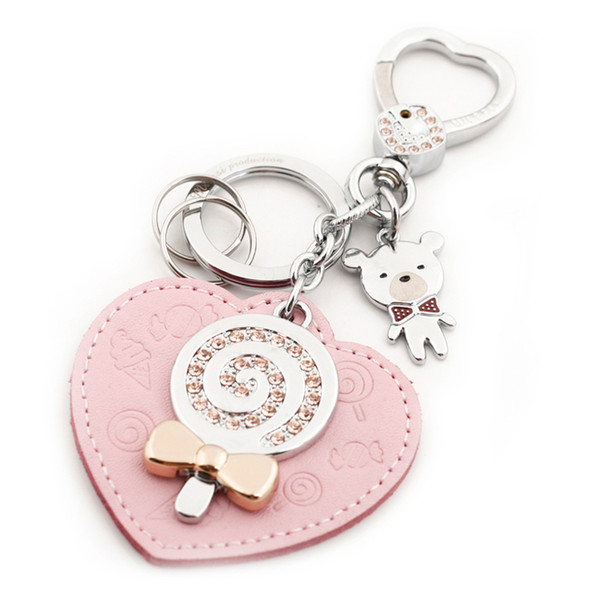 Milesi Brand Original Design Leather Heart Shape Keychain, Car Keychain Bag, Pendant for Lover, Novelty Gift Trinket D0035