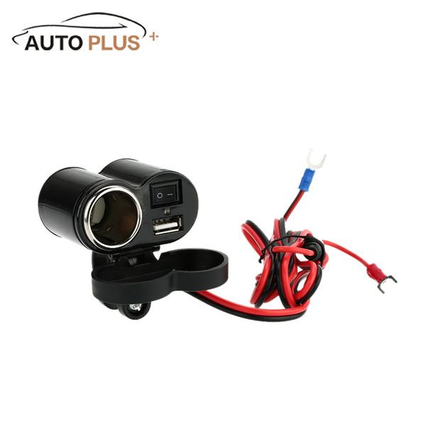 Al por mayor- 5V / 1.5A USB Socket con LED Indicador Encendedor de cigarrillos Enchufe con ON / OFF Interruptor 12V Parte de la modificación del coche para la motocicleta
