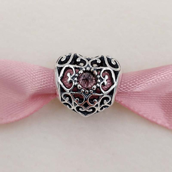 January Signature Heart Birthstone Charm 925 Sterling Silver Beads Fits European Pandora Style Jewelry Bracelets 791784GR Birthday Gift