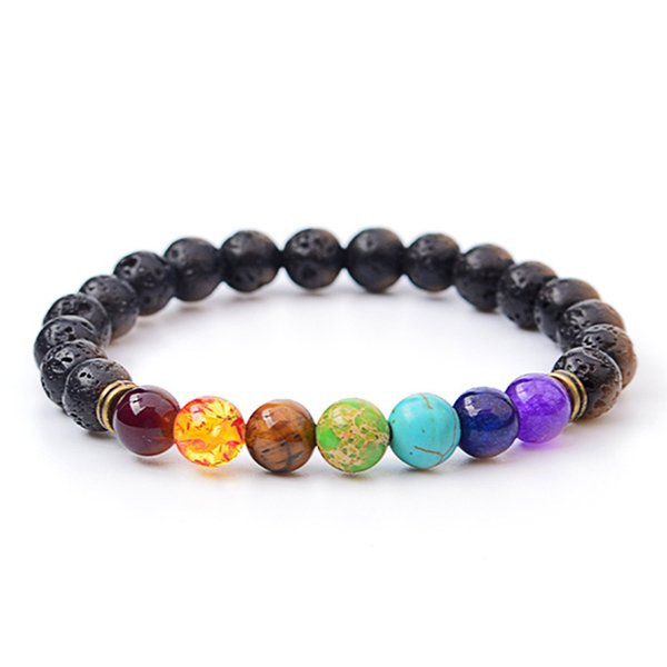 top popular 2017 Volcano bracelet Fashion Wholesale Natural lava volcano, tiger eye, laips, amethyst stone with seven color stone Beaded Bracelet bangle 2019