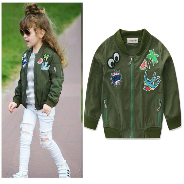top popular Autumn Baby Coats Army Green Jacket Cartoon Printed Jacket for Girls 2-7T Children's Clothing Outerwear Windbreakers for Girls Overcoat 2021