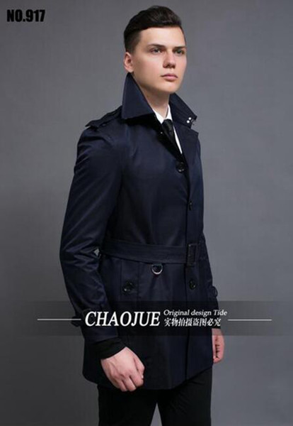 Men in the spring and autumn fashion new business casual cashmere splicing big yards of England trench coat / S-3XL