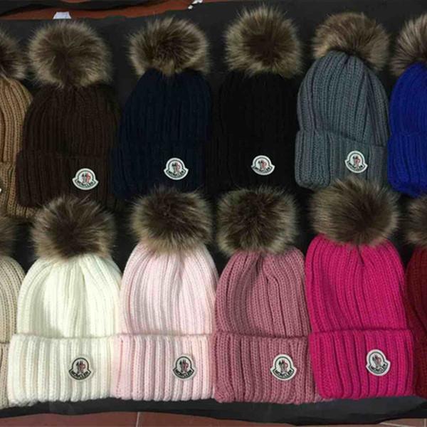 Wholesale embroidery Real Raccoon Fur Pompom women men Winter Hat Fur Pom Pom Winter Beanies Warm Knitted Bobble Hat For Boy Girl