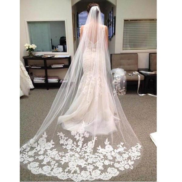 Vendita calda 3 M Velo da sposa Morbido tulle lungo velo da sposa con pizzo bianco Avorio Accessori per matrimoni / eventi