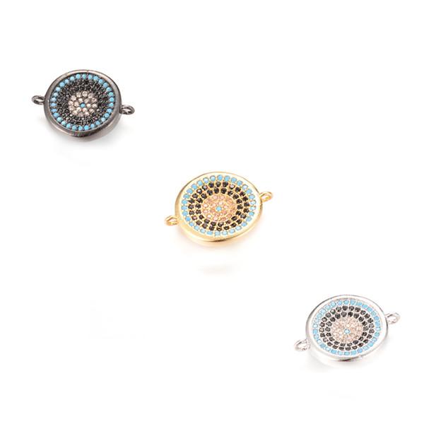 ECO-Friendly Fashion Round Shape Micro Pave CZ Charm, Connector, ICSP054, Size 18.8*4.5 mm, 3 Colors