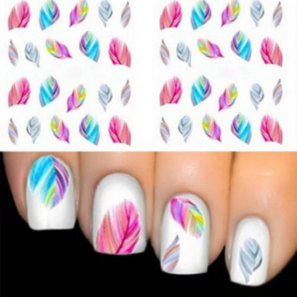 10 Styles Hot Beauty Nail Art Water Transfer Sticker Tips Feather