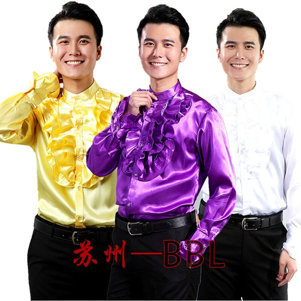 Wholesale- Men Stage Performance Dance Host Ruffles Shirts Male Long Sleeved Shirts Costumes Singer Show White/Yellow/Purple Shirts W476