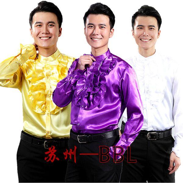 Vente en gros - Hommes Stage Performance Dance Host Ruffles Chemises Mâle Manches Longues Chemises Costumes Singer Show Blanc / Jaune / Violet Chemises W476