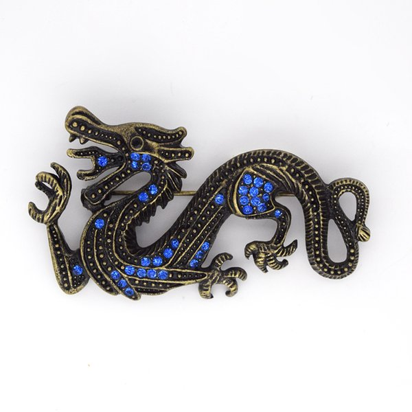 12pcs / lot Gros Cristal Strass Dragon Broches Mode Costume Broche Broche Bijoux cadeau C299