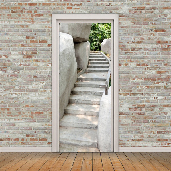 Free shipping mountain stone stairs Wall Stickers DIY Mural Bedroom Home Decor Poster PVC Waterproof Door Sticker 77x200cm