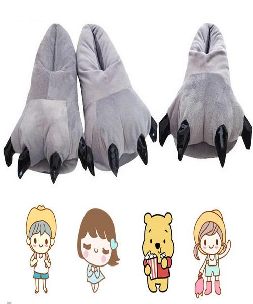 Hausschuhe Baumwolle Anime Plüsch Hausschuhe Soft Indoor Boden Schuhe Eltern Kinder Paare Cartoon Dinosaur Claws Schuhe