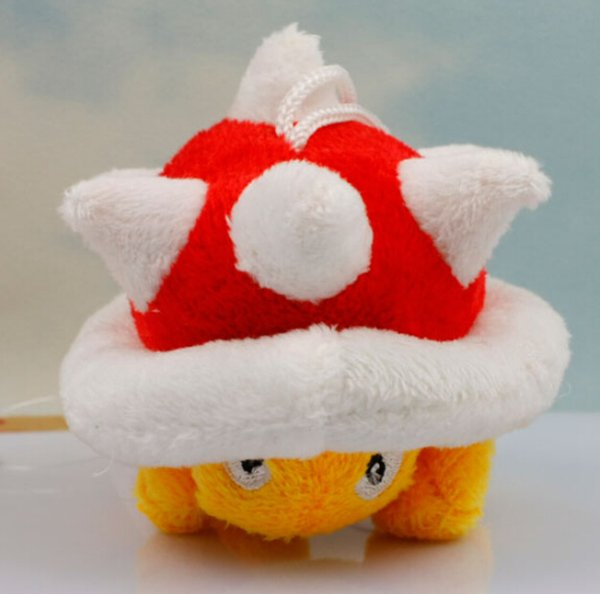 New Super Mario Bros Red Spiny Koopa Red Stuffed Plush Figure with Sucker Anime Baby Dolls Brinquedos Kids Toys Gift Approx 5cm