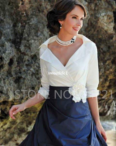 2017 Elegant V Neck Mother Of Brides Dresses White Top Navy Under Formal Evening Dresses Mother's Dresses Custom Made