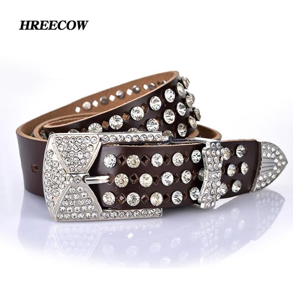 Al por mayor-marca de moda correas de cuero cinturones de mujer cinturón de diamantes de imitación para las mujeres diseñador de alta calidad correa de correa de cuero genuino femenino