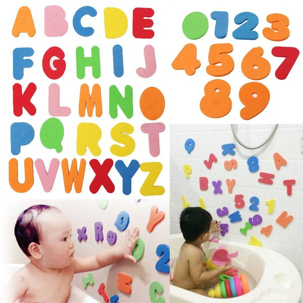 Wholesale- 36Pcs/set Alphanumeric Letter Bath Puzzle EVA Kids Baby Toys New Early Educational Kids Bath Funny Toy MU879195