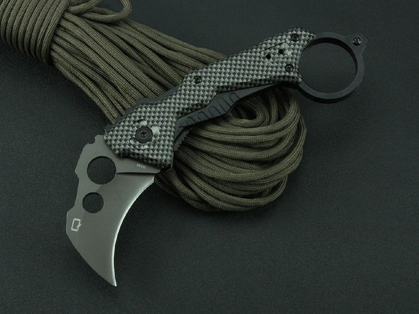 QTR DA46 Hawbill Claw Karambit Tactical Folding Knife 3Cr13Mov 55HRC Titanium Outdoor Camping Hunting Survival Pocket EDC Tools Collection
