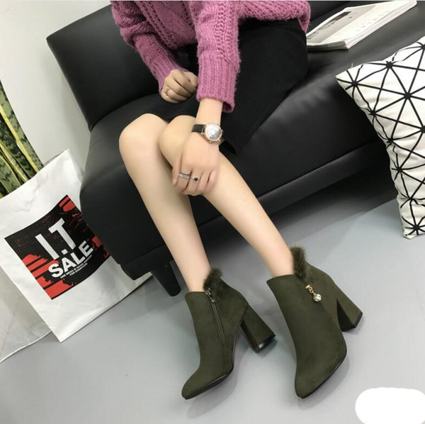 Fashion Suede Chunky Heel Ankle Boots Womens Comfortable Office Work Shoes Black High Heels Fur Plush Booties Martin Boots Snow Booties