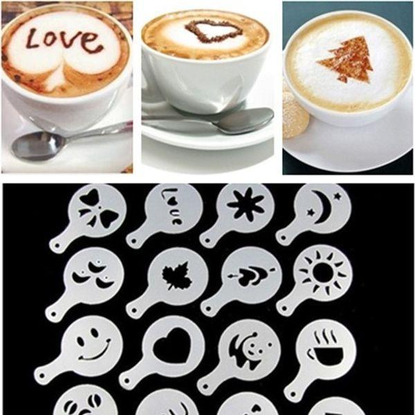 Deals Ocean 16Pcs Mold Coffee Milk Cupcake Stencil Barista Cappuccino Plastic Template Strew Pad Duster Spray Tools New 1 8tt R