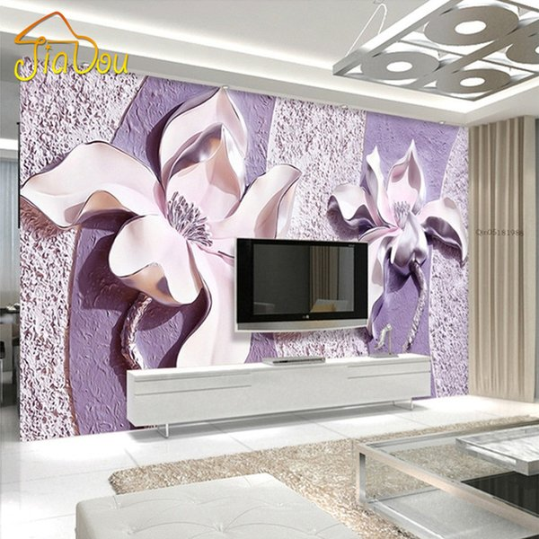 Wholesale-Customize Any Size 3D Relief Purple Magnolia Bedroom TV Background Wall Paper Home Decor Living Room Non-woven Mural Wallpaper
