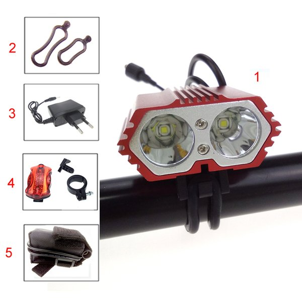 5000LM Waterproof t Led Bike Light Front Bicycle Lamp Light Head 4 Modes +AC Charger +Battery Pack + Rear Light