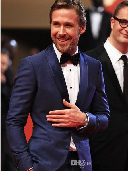 Slim Fit Navy Blue Groom Tuxedos Shawl Lapel Two Buttons Best Men Groomsmen Wedding Suits Men's Suits For Prom Party (Jacket+Pants)