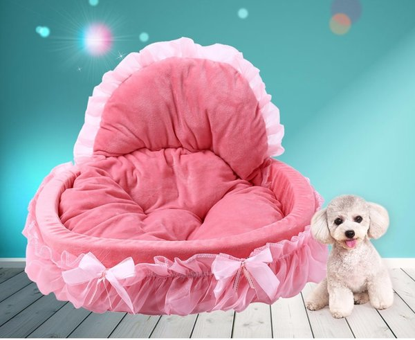 best selling Kimpets Stylish Washable Lace Pet Dog Cat Bed House Soft Washable Footprint Pet Dog Cat Bed House Warm Bed All Seasons