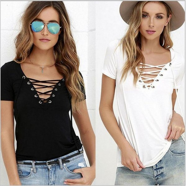 Summer lady T-shirt collar V collar dress shirt color tie Han banchao 2017 new simple ouc269