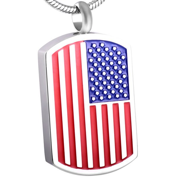 IJD8432 316L Stainless Steel USA Flag Dog Tag Cremation Pendant Urn Jewelry Holds Ashes Necklace Human