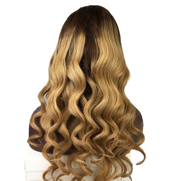Full Lace Human Hair Wigs Wavy Ombre Two Tone Brazilian Virgin Hair 130 Density 150 Density Natural Hairline Lace Front Wigs Bleached Knots