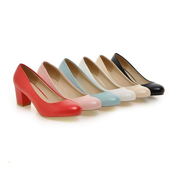 wholesaler free shipping factory price chunky heel round nose lady office women wedding shoes dress shoes103