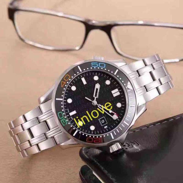 Edición limitada Bisel de cerámica James Bond 007 Marca Acero inoxidable Hombre Profesional 300 m Azul Dial negro Reloj automático Relojes para hombres