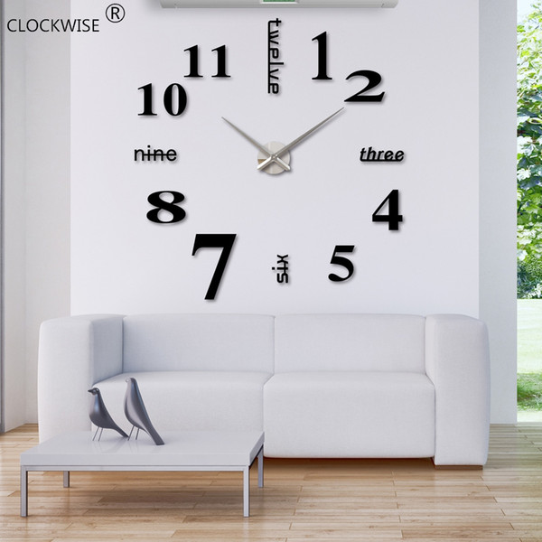 best selling Wholesale-2016 New Arrival Quartz 3D Clocks Fashion Watches 3d Real Big Wall Clock Rushed Mirror Sticker Diy Living Room Decor #ZH015