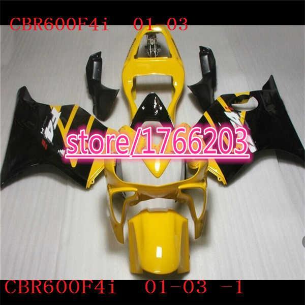 2001 2002 2003 Motorcycle Fairing set CBR600 F4I 01 02 03 CBR 600 F4I CBR600 F4I CBR600 2001 2002 2003 gloss black yellow Fairings kit