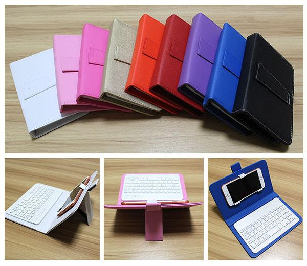 9 Colors Phone Case with Bluetooth Keyboard For Iphone 6 6s Plus LG Xiaomi Huawei Samsung HTC Leather Flip Case with Detachable Keyboard