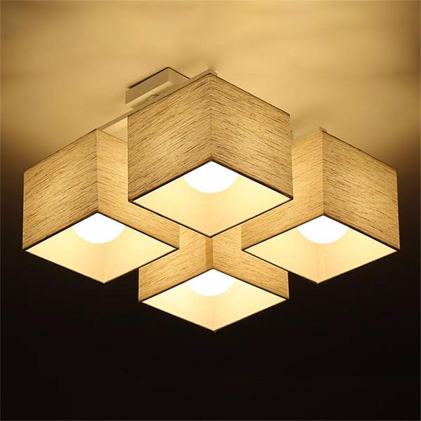 L23-Fabric sanat Bez LED Tavan Işık Nordic LED Kolye Lambaları Modern Oturma Odası Lamba Yatak Odası Mutfak Aydınlatma