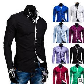Wholesale- Hot sale camisa masculina 2015 new male shirt men color European popular vetement homme long sleeved shirt 8 colo