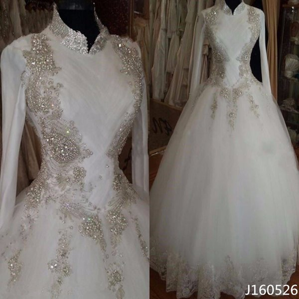 Großhandel Modest Bling Islamische Brautkleider 2016 Langarm ...