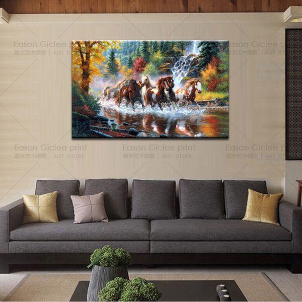 HD Stampe Su Tela Pittura A Olio Home Decor Immagini di Arte Della Parete Pittura In Esecuzione di Cavalli Astratta Moderna Soggiorno Arte Immagini A Parete