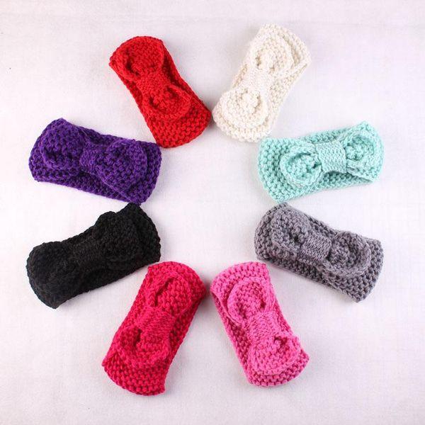 Wool Bow Crochet Knit Hairband Flower Winter Ear Warmer Head wrap Headbands bowknot Bany Children Hair Accessories 8 Color Free Shipping DHL
