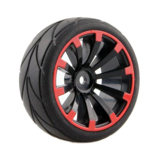 4pcs RC Flat Racing Tires Tyre Wheel Rim Fit HSP HPI 1:10 On-Road Car 601A-6081