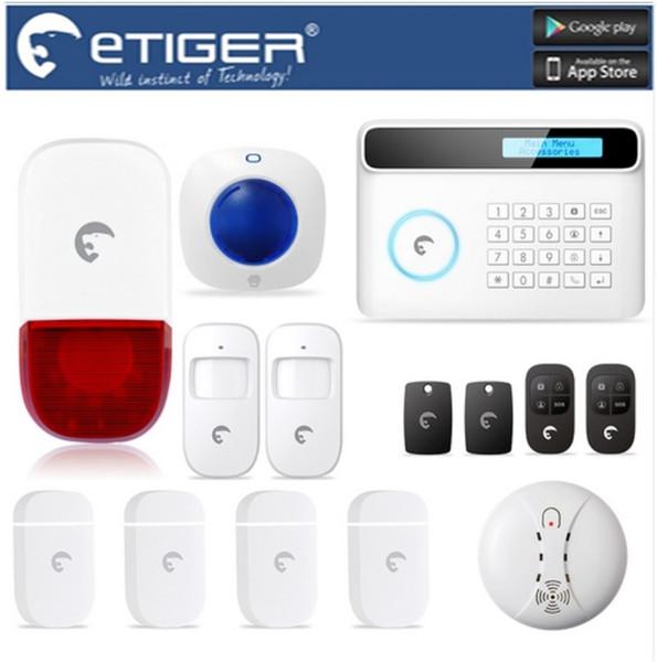LS111- Smoke/Fire Detector eTIGER GSM/PSTN Wireless & Wired Alarm System For Home/Office Strobe Siren