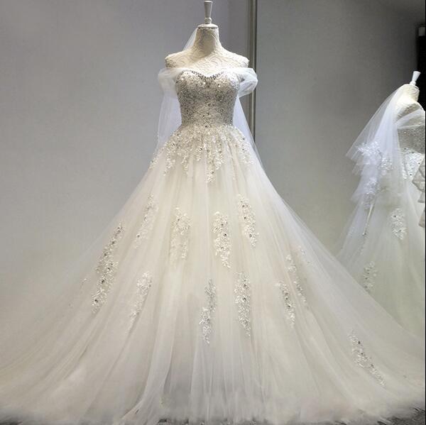 New Angel Wedding dress Lace A word shoulder Bra diamond Flash ...