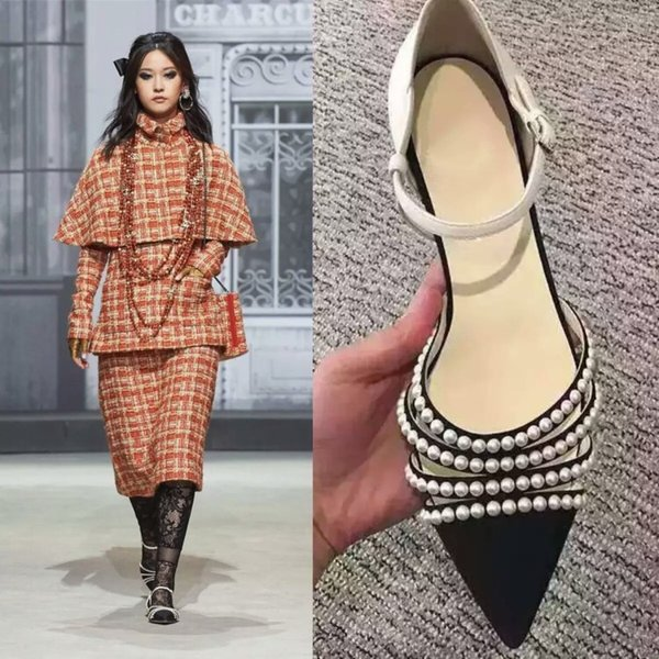 Elegant Beading Flats Party Shoes Woman Sexy Pointed Toe Leather Dress Shoes Woman Fashions Buckle Wedding Shoes Woman Big Size 43