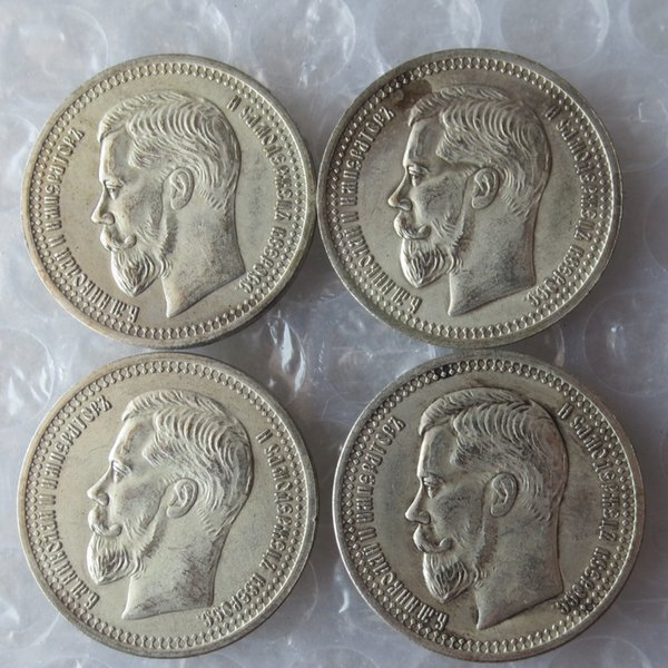 4pcs/lot 1902-1909 Russia 50 Kopeks Coins Copy High Quality home Accessories Silver Coins
