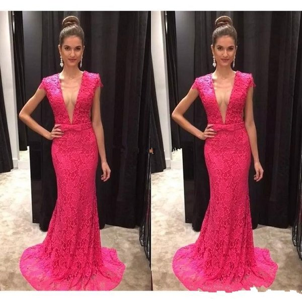 Vestido de Fiesta Sexy Fuchsia Lace Mermaid Evening Dresses Plunging Neckline Short Sleeves Prom Gowns Customize Robe de Soiree